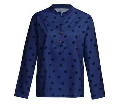 Women Ladies Button Loose V-neck  Long Sleeve S-XXl Casual Polka Dot  Shirt New