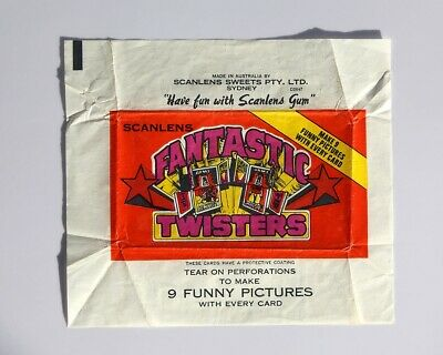 Scanlens Fantastic Twisters Collectible Cards Wrapper - Bubble Gum Card - 1970s