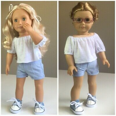"""Fit American Girl And Our Generation. Shorts, Top + Shoes ONLY 18"""" Doll Clothes."""