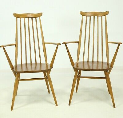 2 Retro Ercol Armchairs Stick Back 1960s Goldsmith Mid Century FREE UK Delivery