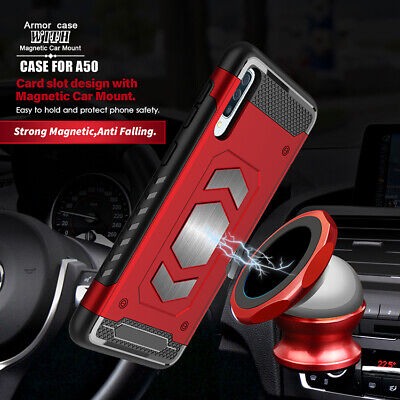 Hybrid Magnetic Shockproof Armor Case Card Holder Cover For Samsung Galaxy A50