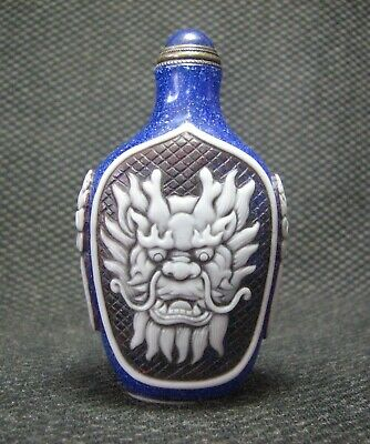 Special Chinese Glass Seiko Carve Dragon Head Design Snuff Bottle//////