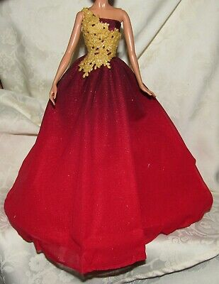 NEW Barbie Christmas Holiday 2016 Doll Red Gold Gown ~ Model Muse Dress Clothing