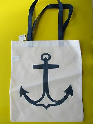 Blue ANCHOR bag - perfect for beach or pool or anytime  White bag, BEACH TOTE