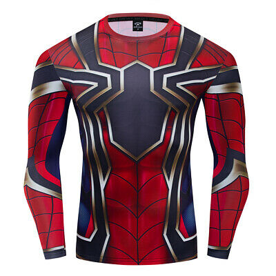 Superhero Spiderman 3D Compression Sports T-Shirts Tights Tee Gym Fitness Tops