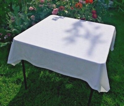 Vintage White Tablecloth Maple Leaf Leaves Damask 50 x 51 inches