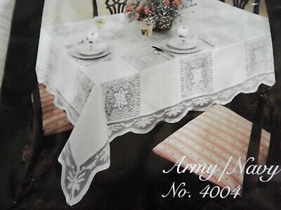 Vintage  Army  / Navy LACE Tablecloth 68 X 106 In Pkg. 100% Cotton New old stock