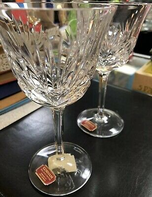 Gorham Full Lead Crystal Diamond Cut Signed Set Of 2 Wine Glasses~West Germany