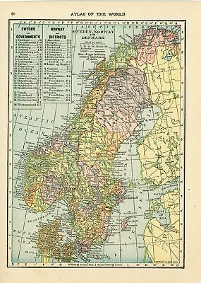 Handy Atlas Vintage Map Pages (Sweden Norway on one side and Germany - East o...