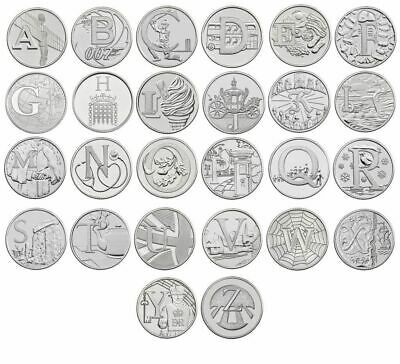 THE FULL SET OF A-Z Alphabet 10p Piece - Ten Pence Coins Collection - 2018 & 201