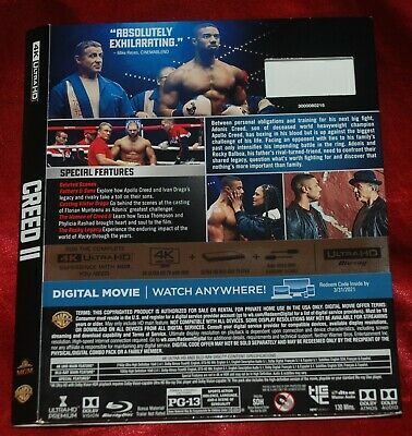 UHD BD SLIPCOVER - FITS Creed II UHD BD Ed - SLIPCOVER ONLY no discs