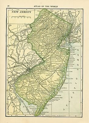1911 Security Handy Atlas Vintage Map Pages (New York on one side and New Jer...