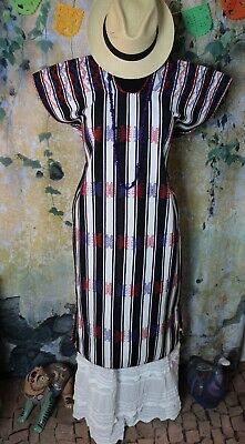 Huipil Kaftan Dress Handwoven Black & White San Juan Colorado Mexico Resort Wear