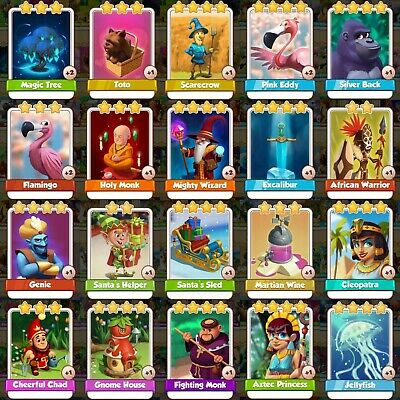 20 Rare Cards Pack Bundle Excalibur Cleopatra Aztec Wizard Monk Sled Coin Master