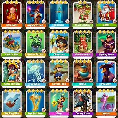 20 Rare Cards Pack Bundle Lettuce Santa Excalibur Wiz Monk Feng Tune Coin Master