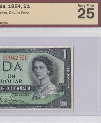 1954 Bank Of Canada Qeii $1 **Devils Face** (( Bcs 25 ))