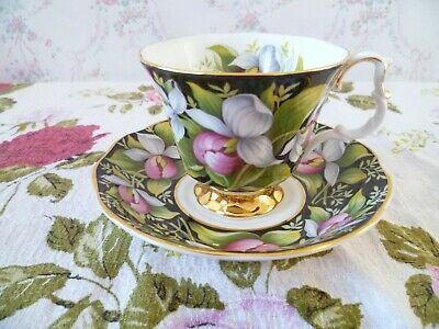 Royal Albert English China Tea Cup & Saucer Provincial Flowers Lady's Slipper
