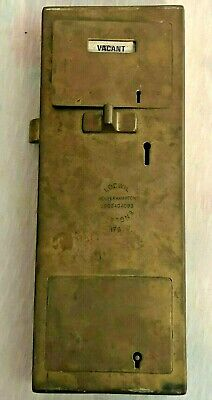Antique Brass LOCWIL WOLVERHAMPTON ENGLAND Coin slot Lock VACANT ENGAGED toilet