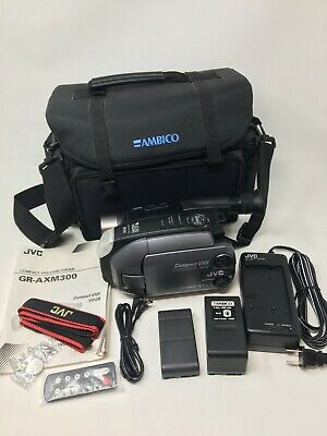 JVC GR-AXM300 Compact VHS Camcorder Camera 2 Batteries Case Instructions, Charge