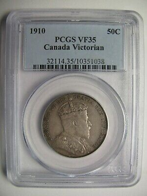 1910 PCGS VF35 50 cents Victorian (Leaves VL) Canada fifty half dollar silver
