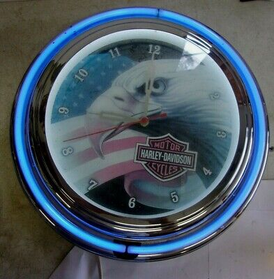 """1998 HARLEY DAVIDSON NEON WALL CLOCK 18"""" Diameter Round Eagle Face REDUCED"""