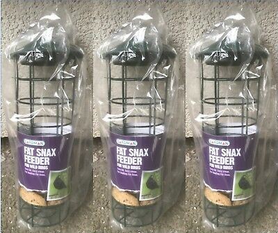 Three / 3 Brand New Gardman Fat Snax Bird Feeders Wild Birds
