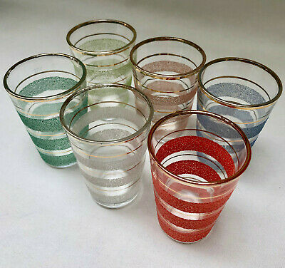 Vintage French Mid Century Set 6 Gold Rimmed Different Colour Drinking Glasses