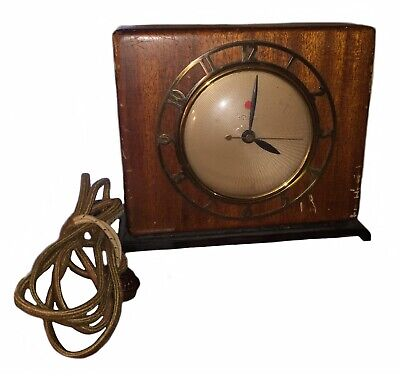 Vintage Warren Telechron Art Deco Electric Clock Square Wood Case Model 4F69