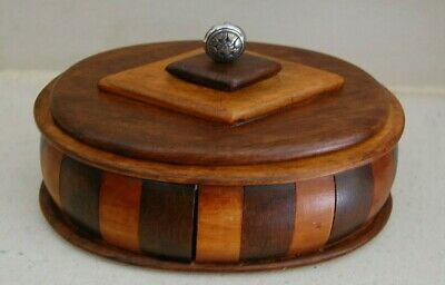 Oval Antique Folk Art Marquetry Wood Trinket Box 1920s Art Deco lined hand craft