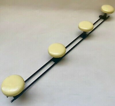 Vintage French Mid Century Black & Yellow Metal Wall Hanging Coat / Hat Rack