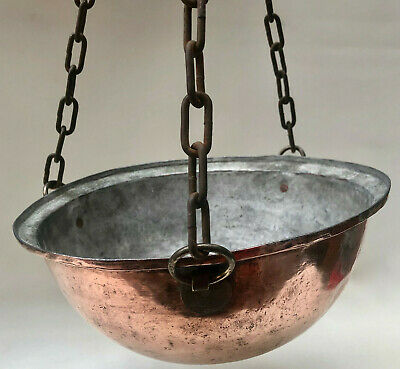 Vintage French Copper Hanging Flower Basket With 3 Long Chains For Gardening
