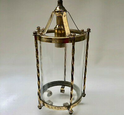 Vintage French Gold Coloured Brass Hall Porch Cylindrical Glass Ceiling Light