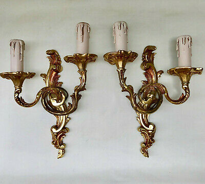 Vintage French Pair Of Gold Colour Double Wall Electric Lights Candle Sconces