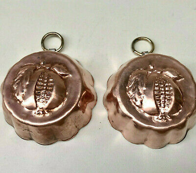 Antique French Pair Of Wall Hanging Copper Pomegranate Molds With Brass Rings