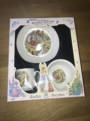 Reutter Porcelain Beatrix Potter Peter Rabbit Gift Set  3 Pieces Boxed New