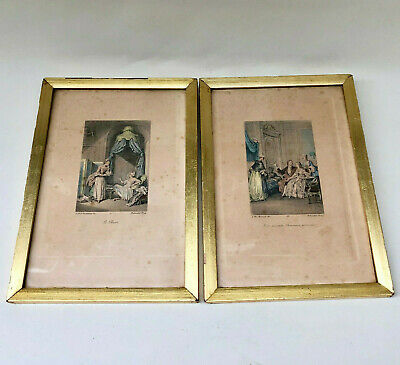 ANTIQUE FRENCH 1800s PAIR OF HAND COLOURED GOLD FRAMED PRINTS, MOREAU & ROMANET