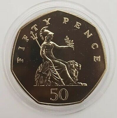1986 The Royal Mint Britannia Large Type fifty pence 50p coin Uncirculated UK