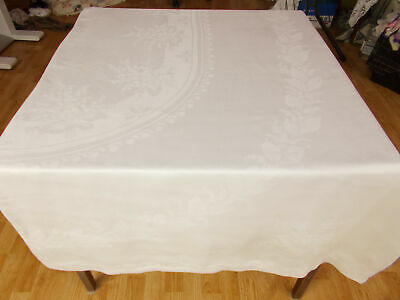 101X69 Vintage Antique FORMAL DINING White IRISH LINEN DOUBLE DAMASK Tablecloth