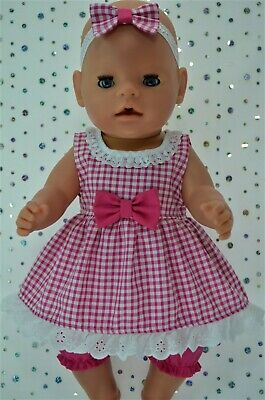 "Play n Wear Dolls Clothes For 17"" Baby Born GINGHAM DRESS~BLOOMERS~HEADBAND"