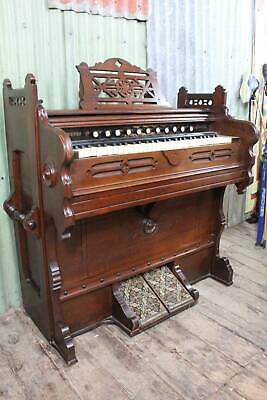 A Lovely Antique Pedal Pump Organ in Cedar Case by Smith American
