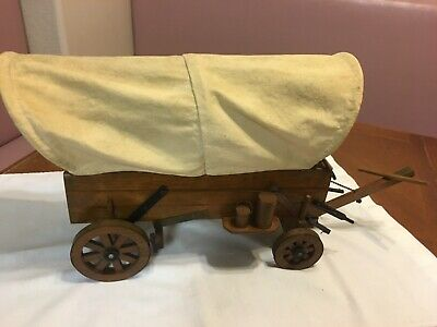 Vintage Large Western Wooden Canvas Covered Wagon Electric Lamp
