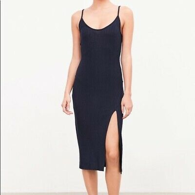 d7f7edd52 NWT Silence + Noise UO Urban Outfitters Ribbed Bodycon Midi Dress Black  Slit XS