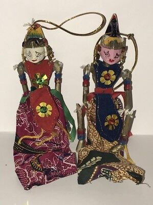 Vintage Indonesia Wooden Wayang Kulit Shadow Puppet Ornaments Hand Painted