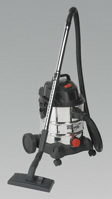 Sealey PC200SD Vacuum Cleaner Industrial Wet Dry 20ltr 1250W/230V Stainless Drum