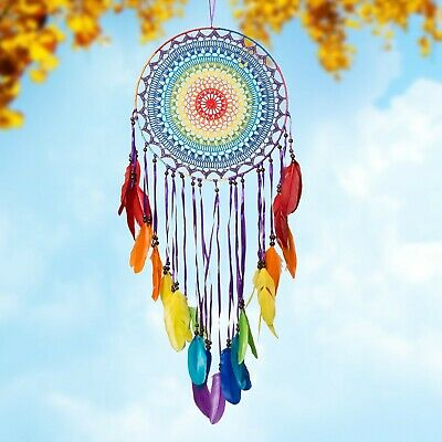 Bohemian Colourful Rainbow Dream Catcher With Multi-coloured Feathers Home Decor