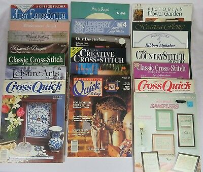 Lot of 20 Booklets, Pamphlets, Magazines, Patterns for Cross Stitch