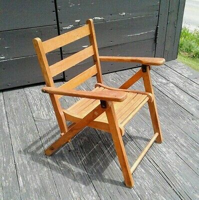 Antique Childs Wooden Fold Up Chair 1930 Era