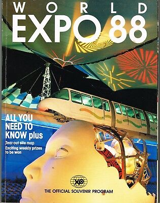 World Expo '88 Official Souvenir Program - Fold Out Map Still Attached Inside