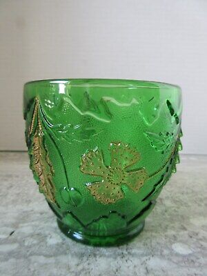 Antique EAPG Green Glass Delaware Pattern Spooner or Sugar Bowl