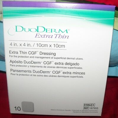 2 boxes ConvaTec DuoDERM Extra Thin CGF Dressings 4x4 Inches 187955 10 Each Box